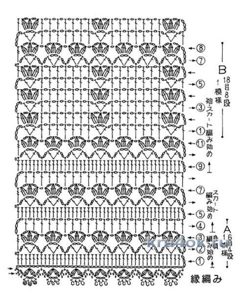 Двухцветная туника крючком. Работа Петровой Виктории вязание и схемы вязания