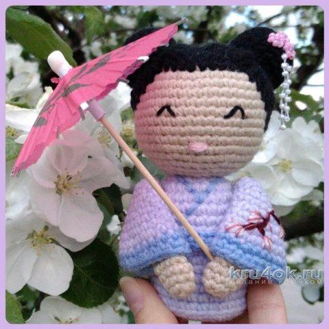 Кукла - японка крючком. Работа Ксении вязание и схемы вязания