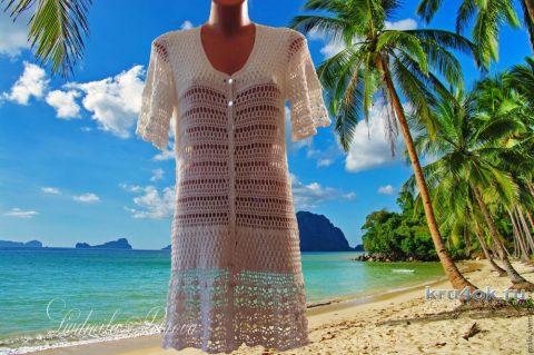 Пляжный халат крючком. Работа Людмилы Петровой вязание и схемы вязания