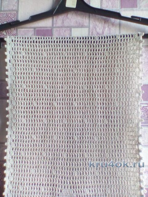 Шарфик в филейное технике. Работа Виктории вязание и схемы вязания