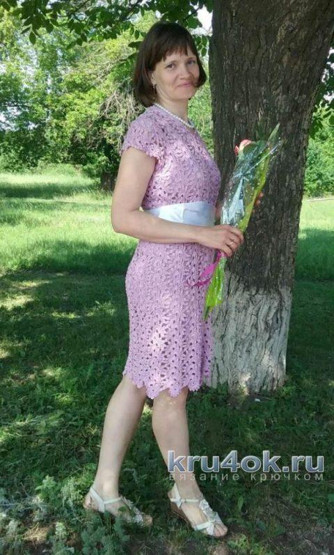 Вязаное платье в технике ленточного кружева. Работа Татьяны Колесник вязание и схемы вязания