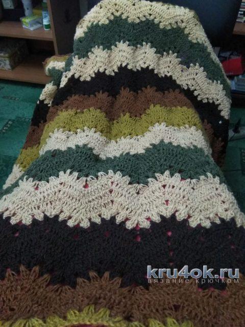 Вязаный крючком плед. Работа Людмилы вязание и схемы вязания