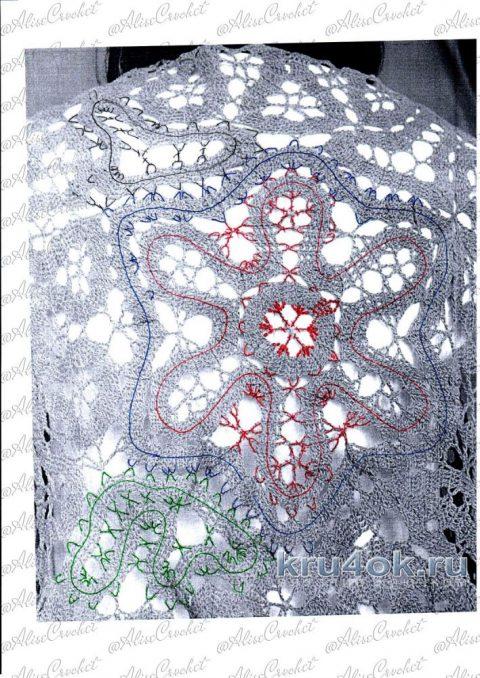 Жилет в технике брюггское кружево Изумрудная зелень вязание и схемы вязания