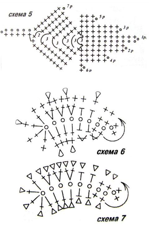 схемы вязания листьев крючком для цветов
