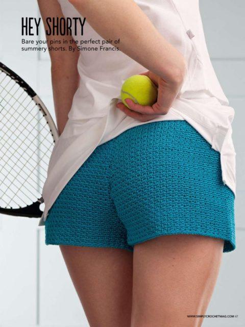 Теннисные шорты крючком