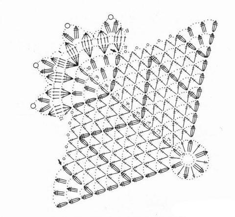 Салфетка - снежинка схема