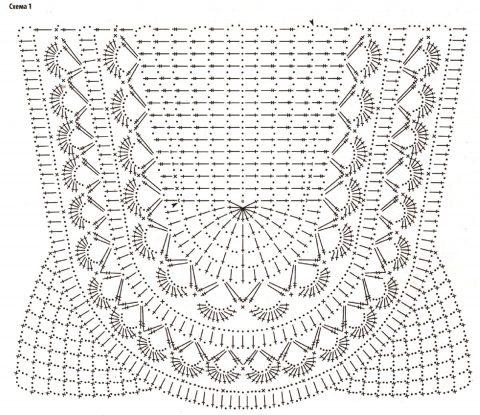 Овальная кокетка крючком, схемы вязания