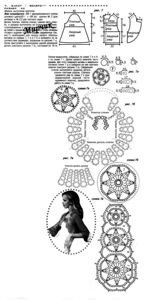 Схемы вязания болеро: