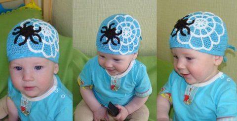 Детская бандана - шапочка крючком