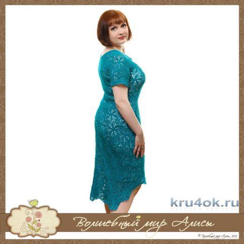 Платье цвета Морская волна. Работа Alise Crochet вязание и схемы вязания
