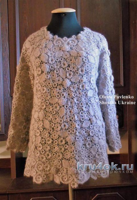 Пуловер Пыльная роза связан в технике ирландского кружева крючком