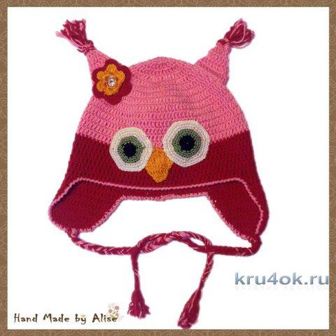 Шапочка - сова крючком. Работа Alise Crochet вязание и схемы вязания
