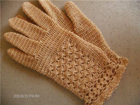 Ажурные перчатки крючком, мастер - класс!