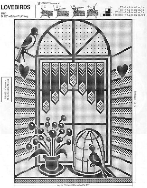 Схема шторы крючком Lovebirds