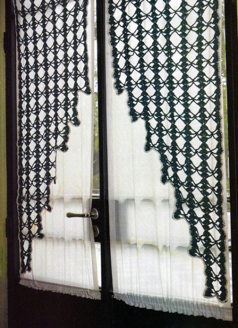 Шторы на кухню, 7 схем вязания крючком