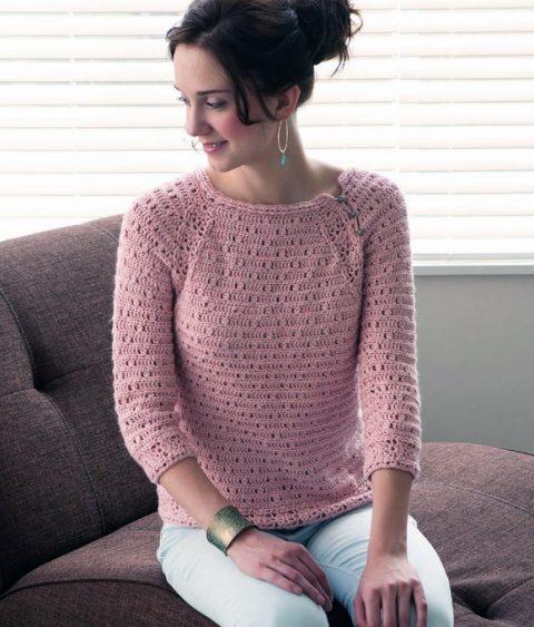 Розовый ажурный свитер крючком