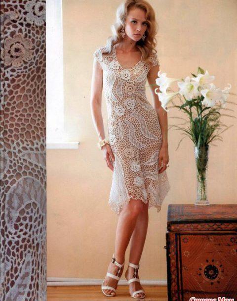 Нарядное платье крючком (фриформ)
