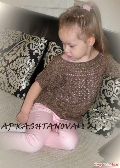 """Летний пуловер """"Плетенка"""" для мамы и дочки"""