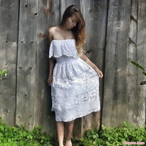 Платье Белый лотос, филейное вязание