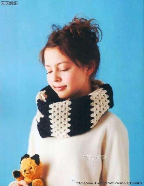Полосатый шарф - снуд крючком