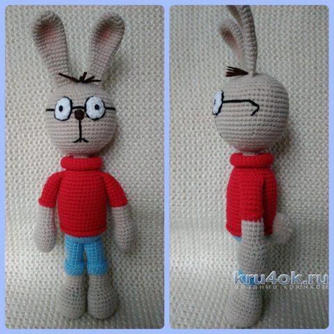 Кролик из м/ф Винни Пух крючком. Работа Ксении вязание и схемы вязания