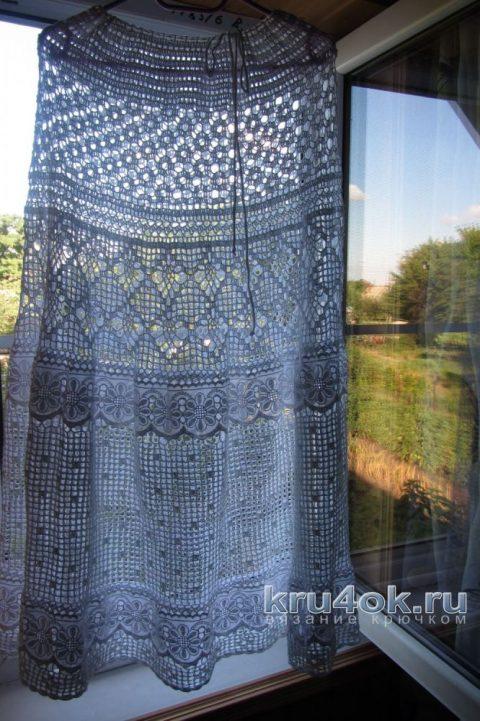 Юбка - макси, комбинированная кружевом вязание и схемы вязания