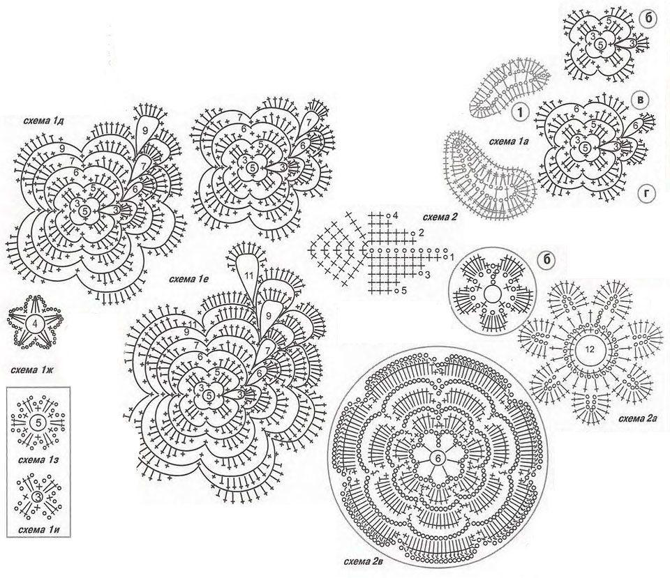 Схема листик ирландского кружева крючком