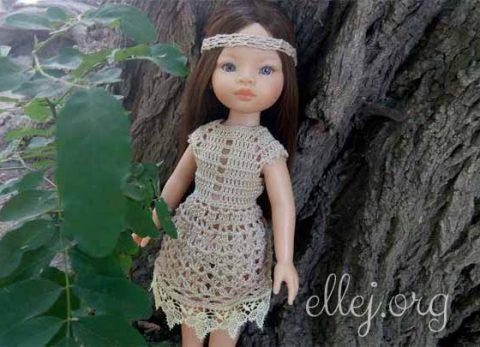 Платье Экрю с кружевом для куклы Паола Рейна