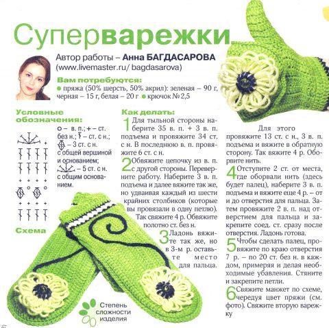 Супер - варежки крючком от Анны Багдасаровой