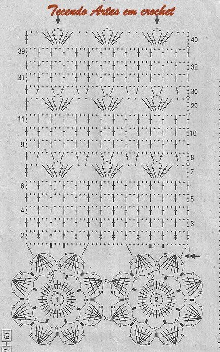 Схема вязания ярких штор крючком
