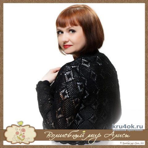 Болеро Серебряные ажуры в черном цвете. Работа Alise Crochet вязание и схемы вязания