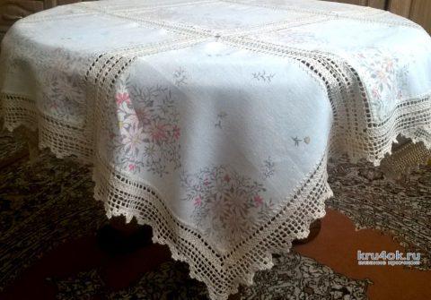 Комбинированная скатерть крючком. Работа Елены Шевчук вязание и схемы вязания