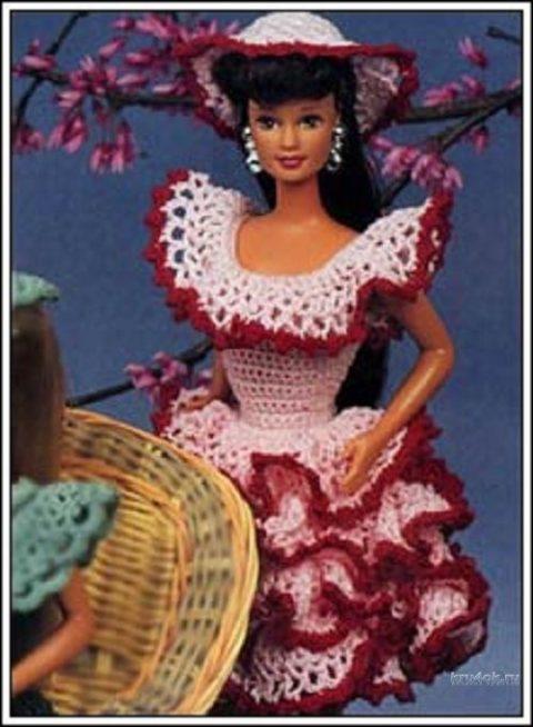 Нарядное платье для куклы Барби. Работа Alise Crochet вязание и схемы вязания
