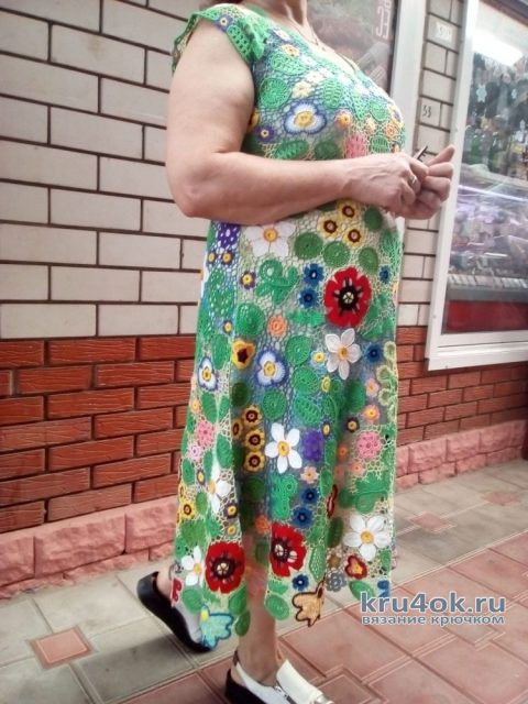 Платье Летний этюд. Работа Елены Шляковой вязание и схемы вязания