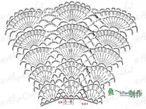 Пояс - баска Веер крючком. Работа Alise Crochet вязание и схемы вязания