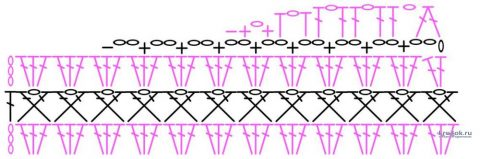 Схема вязания плечевого скоса (для примера)