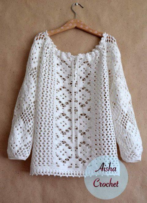 блуза крючком, бохо вязание