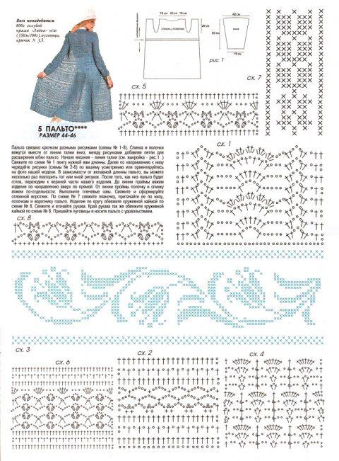 Описание и схемы вязания пальто