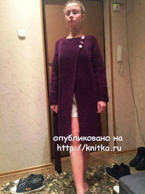 Вязаное спицами пальто из Пехорки Зимний вариант