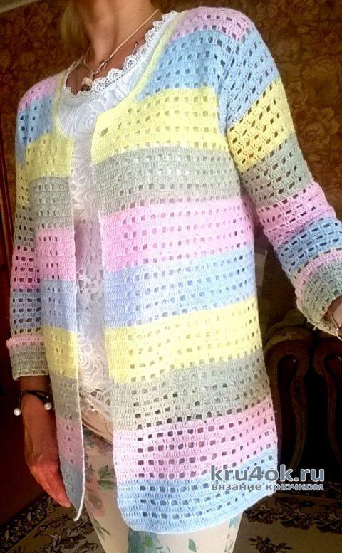 Летний кардиган крючком. Работа Елены Шевчук вязание и схемы вязания