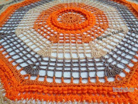 Салфетка Цветотерапия крючком. Работа Мухиной Ольги вязание и схемы вязания