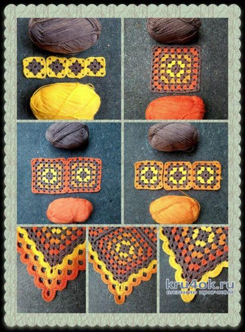 Вязанный крючком плед Краски осени. Работа Людмилы Ильичевой вязание и схемы вязания