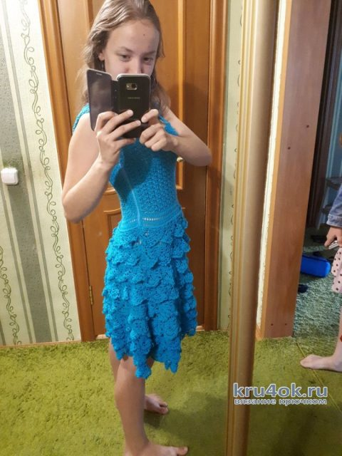 Вязаное крючком платье. Работа Евдокии вязание и схемы вязания