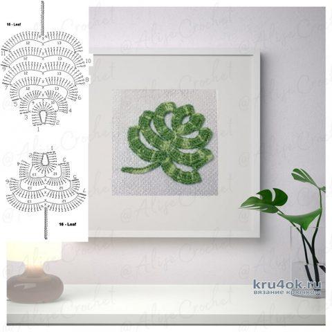 Вязаные листочки в раме под стеклом. Работа Alise Crochet вязание и схемы вязания