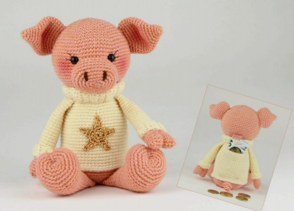 вязаные крючком хрюшки свинки поросята подборка из 33 игрушек