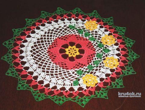 Цветная салфетка крючком. Работа Екатерины вязание и схемы вязания