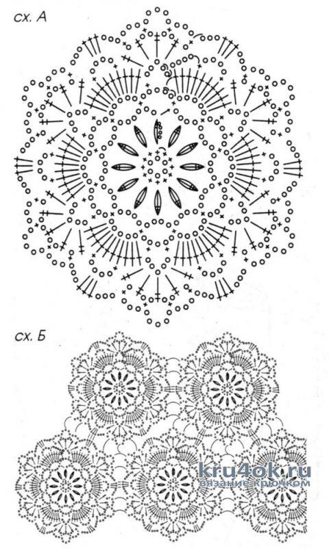 Нарядный топ Цветы Бомбея. Работа Натали Крафт вязание и схемы вязания