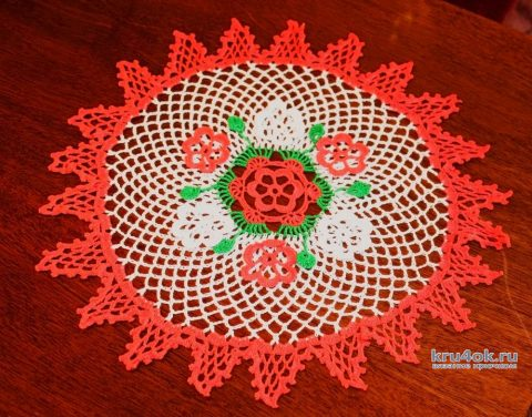 Салфетка с цветами. Работа Екатерины вязание и схемы вязания