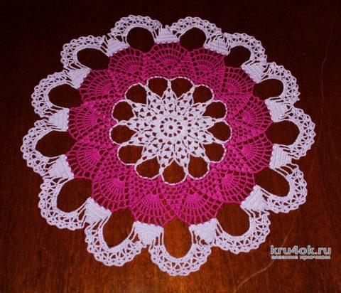 Вязаная салфетка из пряжи Денди. Работа Екатерины вязание и схемы вязания