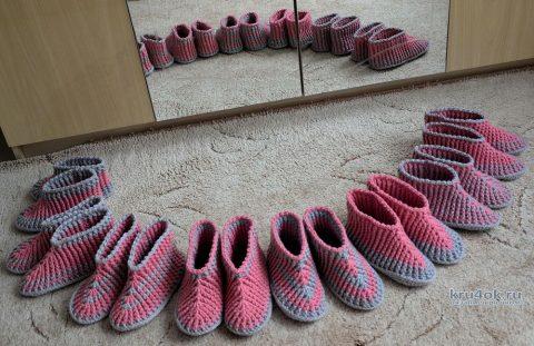 Вязанные крючком носки - тапочки. Работы Светланы вязание и схемы вязания